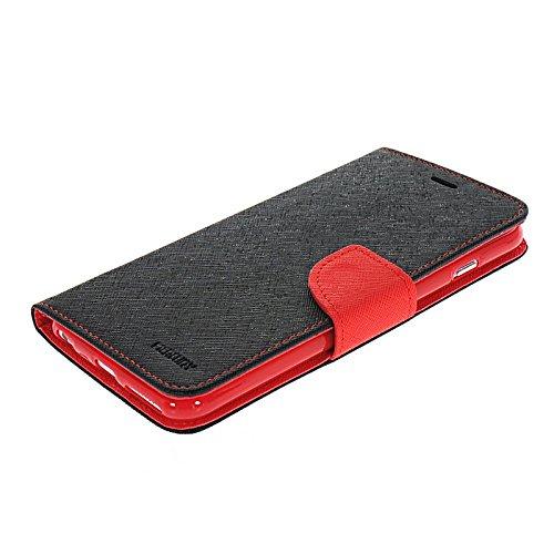 MOONCASE Leder Tasche Flip Case Cover Schutzhülle Etui Hülle Schale Für Apple iPhone 6 Plus Rosa Rot
