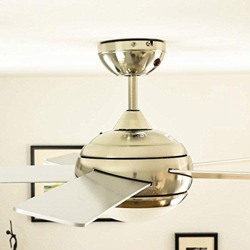 aireRyder Deckenventilator mit Licht und Fernbedienung Fresco 112 cm, Gehäuse Nickel gebürstet, Wendeflügel in Kiefer und Silber -