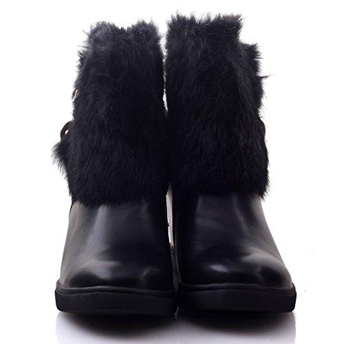 Unze Für Frauen Sibica 'Faux Furr mit Reißverschluss Winter-Stiefeletten - B53-S54 Schwarz
