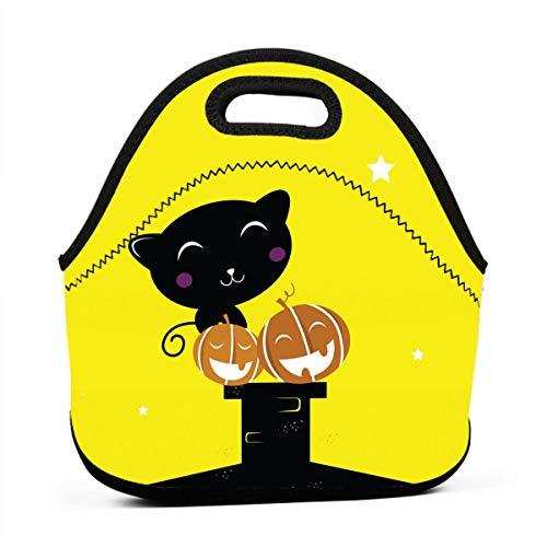 Lunchboxen für Jungen, schwarz, Halloween, Katze, Silhouette, Lunchtasche für Damen, Herren, Picknick, Snack-Taschen, Bento Box, Lunch-Tasche, für Camping und Reisen