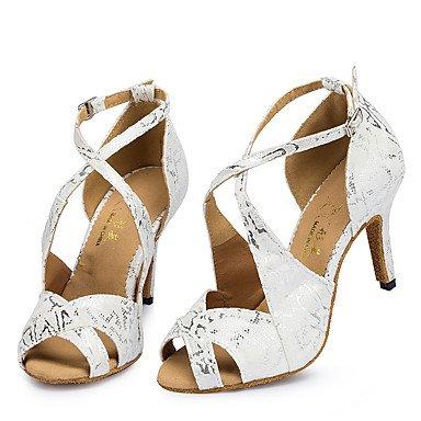 Scarpe da ballo-Personalizzabile-Da donna-Balli latino-americani / Jazz / Sneakers da danza moderna / Moderno-Quadrato-Di pelle-Nero / White