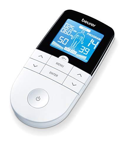 Beurer EM 49 - Electroestimulador Digital Masaje EMS TENS, Pantalla LCD, 2 Canales, 4 Electrodos autoadhesivos