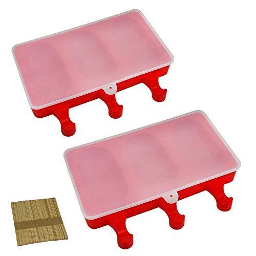 Mirenlife Silikon-Form für Eis und Bars, 2 Mulden, zum Selbermachen von Eiscreme mit 20 Holzstäbchen Oval (set of 2) rot