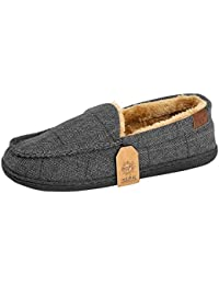 caa07465ff31 Jo   Joe Mens Faux Suede Luxury Fleecy Lined Slip On Tweed Moccasin Slippers  Shoes Size