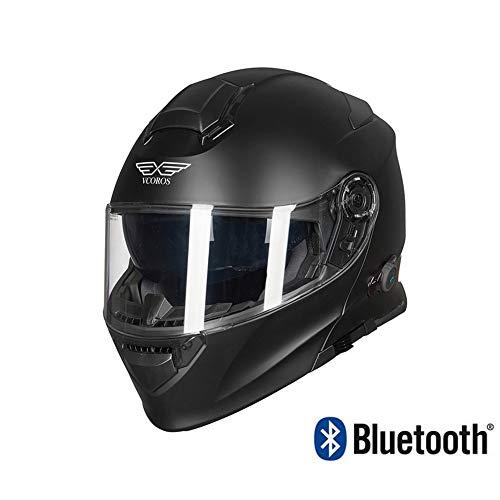 YLee MX Motorrad Helm Headset Kommunikation Walkie-Talkie/DOT und ECE Zertifizierung/Kollision voller Gesicht Helm/Doppel Visier Brille Männer und Frauen,L