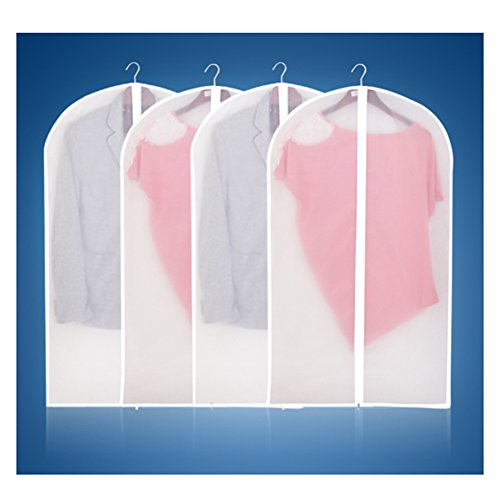Kuke perchero de ropa bolsas de 6unidades + unidades FULL Cremallera Bolsa para traje ropa almacenamiento, pvc, White L, Large