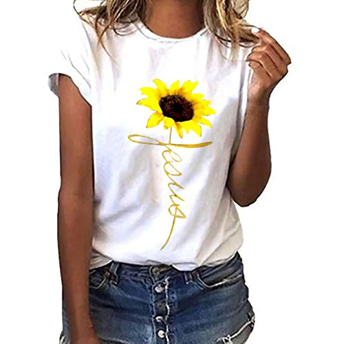Dasongff Damen Tee, Rundhals Kurzarm Basic T-Shirt Sonnenblume Drucken Tops Modisch Casual Sommertop Lose Kurzarmshirt in Versch Farben S-3XL