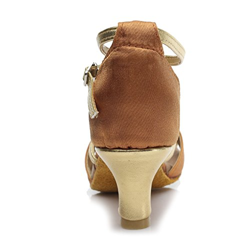 HIPPOSEUS Donna Ballroom Scarpe da ballo /sala da ballo scarpe/Scarpe da ballo latino standard di Raso,Modello-IT255 5CM Marrone