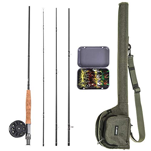Explopur Fliegenrute + Angelrolle Combo + Tragebox 20 Fliegen + Angelrutentasche - Komplettes Starterpaket Fliegenfischerset