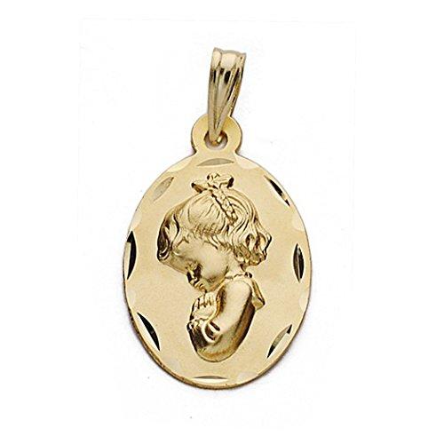 Medalla Oro 18K Virgen Nina 22mm. Ovalada [9083Gr] - Personalizable - Grabación Incluida En El Precio