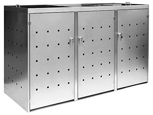 *3er Mülltonnenbox Müllbox Mülltonnenverkleidung Edelstahl Schiebdach Abschließbar V2Aox*