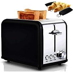 AIVANE Grille Pain/Toaster 2 Fentes Larges et Grill Étagère, 3 Fonction: Décongeler/Chauffage/Annuler, 6 Niveaux de Température Réglables, 815W Inox Grille-pain Noir