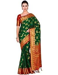 Mimosa Art silk saree Kanjivarm Pattu style With Contrast Blouse Color: Green (4298-321-2D-BGRN-RD)