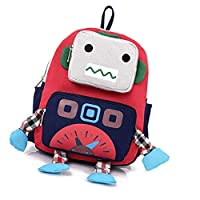 Children Kid Boy Girls Backpack Cartoon Robot Shoulder Bag Adjustable Canvas School Backpack Outdoor Robot Rucksack (Blue)