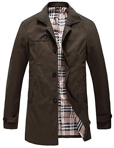 Pinkpum Herren Mantel Trenchcoat Jacke Übergangsjacke Sweatjacke Überzieher Lange Jacken Braun L
