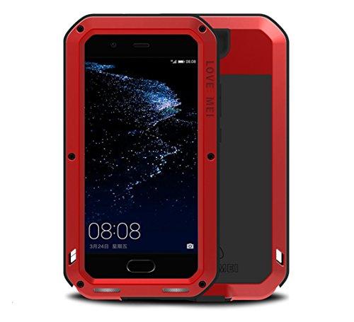 Huawei P10 Plus antiurto Custodie, Love Mei Potente Cover Alluminio Metal Armor con Gorilla Glass vetro protettiva contro per Huawei P10 Plus (P10 Plus, rosso)