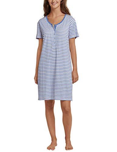 Schiesser Damen Sleepshirt 1/2 Arm, 90cm Nachthemd, Blau (Atlantikblau 899), 40 (Herstellergröße: 040) -
