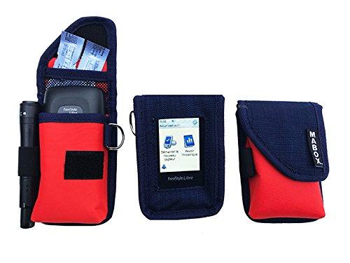 Schutzhülle für Blutzuckermessgerät Freestyle Libre Modell Smart' Access MABOX-Marineblau/Orange