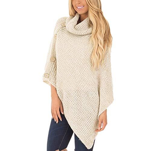 Damen Oberteile MYMYG Damen Strick Rollkragen Poncho mit Knopf Unregelmäßige Saum Pullover Pullover Herbst und Winter Sweatshirt(Khaki,EU:42/CN-2XL)