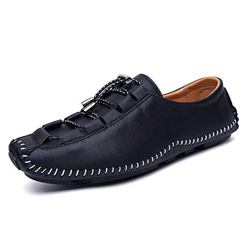 Lässige und bequeme Bootsschuhe Herren Driving Penny Loafers Für Herren Kordelzug Echtes Leder Bootsschuhe Superflexible Erfahrene Genähte Atmungsaktive Leichte Flache Schuhe mit Lug-Sohle Klassische -