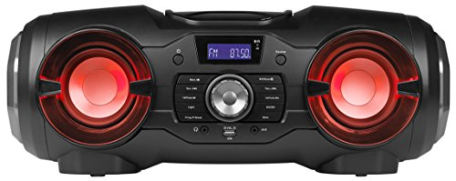 MEDION P65104 Bluetooth CD-Party-Sound-System (Kompaktanlage, UKW Radio, USB, Aux, Farbige Lichteffekte, Batteriebetrieb) Schwarz