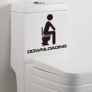 Qianxing witziges abnehmbares WC Badezimmer Wandbild Wandtattoo Aufkleber in Waschraum Toilette für Sitzklo und Nachteimer Deko Wandpapier in verschiedene Größe und Motive(herunterladen) (Größe:15*13)