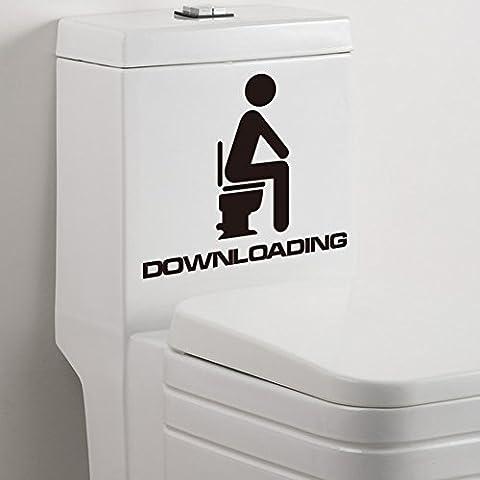 (Pack de 2) Descarga de divertido pegatinas WC para el lavado Cuarto de baño pared de la ventana del fondo de la decoración Adhesivos