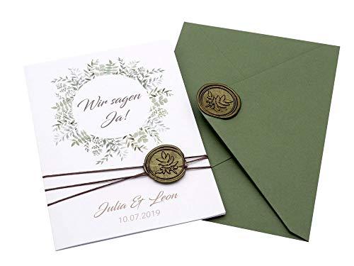 ZauberDeko Einladungskarte Hochzeit Einladung mit Umschlag Grün Wachssiegel Olive Vintage Boho Stil
