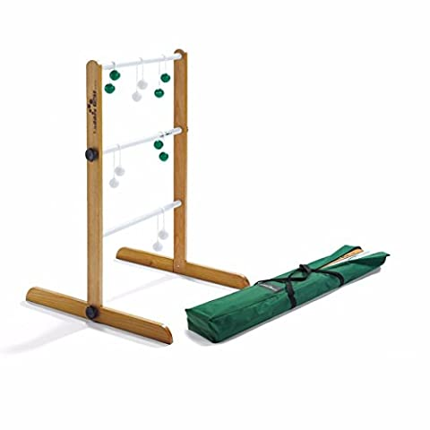 Ladder Golf Single Wooden Game Set, 2 Sets of Bolas (Green, White)