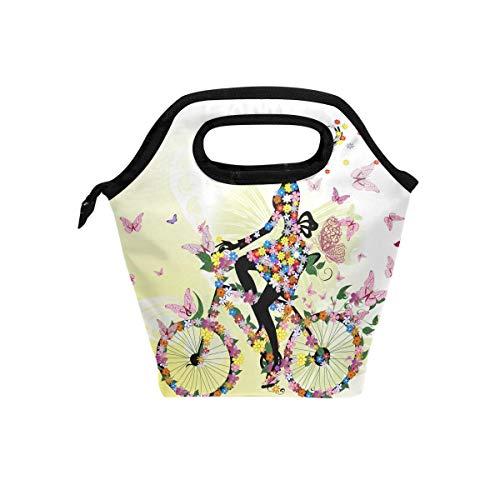 Bolsa de almuerzo para niña, diseño floral, romántico, con cremallera, para picnic