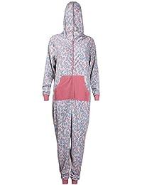 Womens Leopard Animal Print Ladies Long Sleeve Fleece Zip Hood Onesie Full All In One Jumpsuit Playsuit