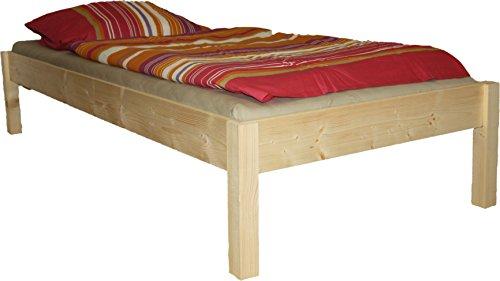 Erhöhtes Futonbett Leonie, NATUR, 55 cm hoch, erhöhtes Bett, Gästebett, Seniorenbett, Massivholz, neu