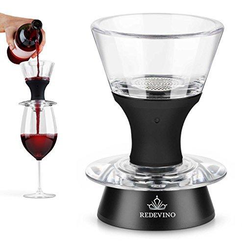 redevino Luxus Wein Luftsprudler Dekanter Set mit Glas Ständer Premium Geschenk -