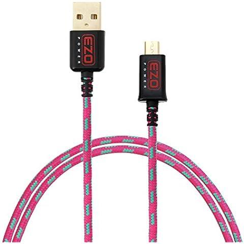 EZOPower Cable de Micro USB, Nylon Trenzado, Carga y Datos, Color Verde y Rosa, 1 metro
