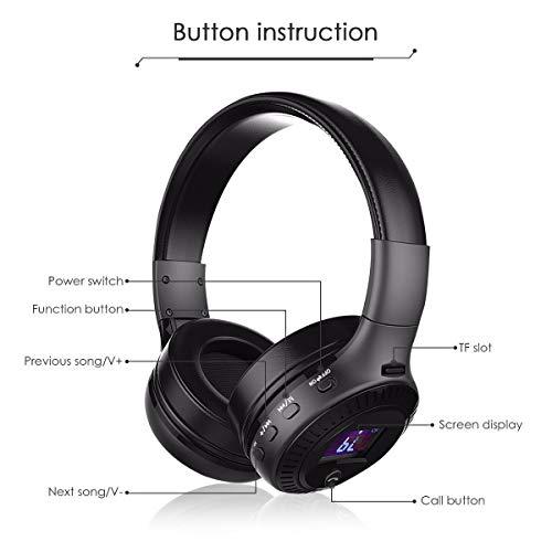 Bluetooth Kopfhörer, ELEGIANT Bluetooth 4.0 Stereo Headset On Ear Kopfhörer mit Digital Display 4 Modi Freisprechfunktion + Mic/ FM Radio/ TF SD Karte Slot/ 3,5mm Audio AUX - 2