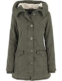 Urban Classics - Jacke Garment Washed Long Parka, Giacca Donna, Verde (Olive), Medium (Taglia Produttore: Medium)
