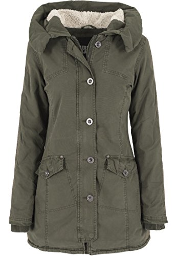 Urban Classics - Jacke Garment Washed Long Parka, Giacca Donna, Verde (Olive), Medium (Taglia Produttore: Medium)