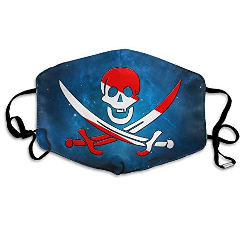 WBinHua Masken, Masken für Erwachsene, Mask Face, Mouth Mask, Scuba Diving Pirate Skull Unisex Dust Allergy Flu Masks Cover Warm Respirator Germ Protective Breath Breath Healthy Safety Mouth Masks Skull Deluxe Maske