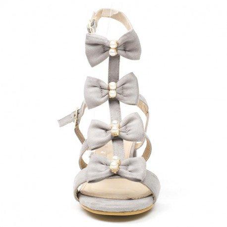 Ideal Shoes - Sandales à talon carré effet daim style spartiate Talie Gris