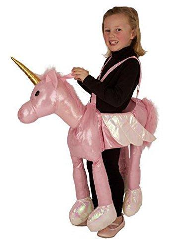 Süßes Kinder Carry-me Huckepack Einhorn Kostüm in rosa Karneval Fasching (Für Mädchen Kostüm Reiter)