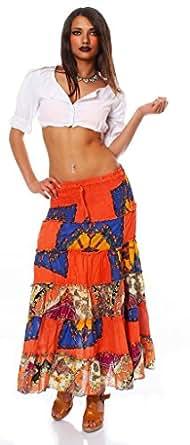 10518 Fashion4Young Damen Maxirock Stretch-Material Rock skirt verfügbar in 6 Farben Gr. 34/36/38 (34/36/38, Orange)