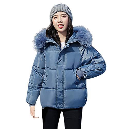 WRWYOSF Damen Baumwollmantel Winter Mantel Frauen Slim Fit Casual Hoodie Mantel Jacke Lange Outwear Langer Abschnitt Großer Pelzkragen Verdicken