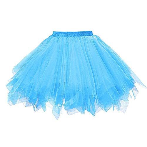 WOZOW Damenrock Tulle Einfarbig Kurz Tutu Unregelmäßiger Saum Multi-Schichten Rockabilly Tanzkleid Unterkleid Crinoline Karneval Kostüm Frauen (M =EU:34-50,Himmelblau)