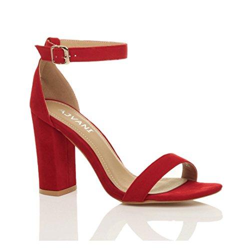 Femmes haute large talon chaussures bout ouvert sandales à lanières pointure Rouge daim