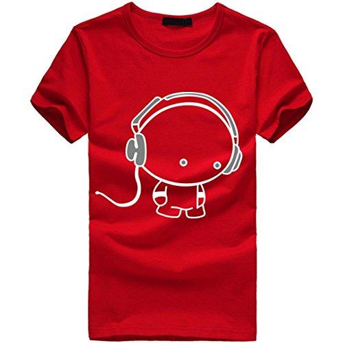 Amlaiworld Sommer-Charakter-nettes Muster-T-Shirt Oberseite für Mann, modernes
