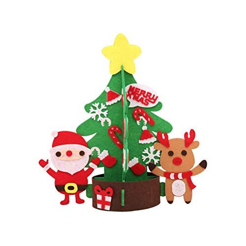 EMLIF Home Tischplatte Mini Weihnachtsbaum mit Rentier Schneemann Candy Cane Socken Deko Ornamente L