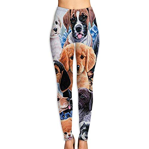 Ewtretr Yoga Pilates Hosen Fitnesshose für Damen, Puppy Collage Printed Leggings Full-Length Yoga Workout Leggings Pants