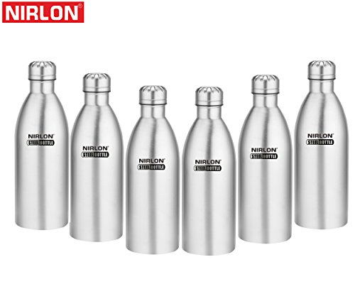 Nirlon Stainless Steel Water Bottle Set, 1 Litre, Set of 6, Silver