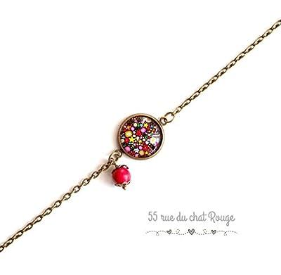 bracelet chaine fine, cabochon fleuri, style Liberty fleuri, multicouleur, petites fleurs, noir et couleur, nature, bracelet fin