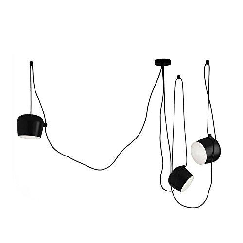 Moderna lampada a sospensione in ferro regolabile stile americano industriale soggiorno 1-5 testa tamburo lampadario personalità creativa soggiorno plafoniera, nero, 3 luci